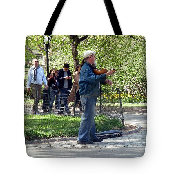 Tote Bag featuring the photograph Violinist by Helen Haw
