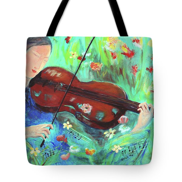 Violinist In Garden Tote Bag