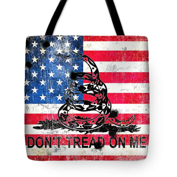 Viper N Bullet Holes On Old Glory Tote Bag