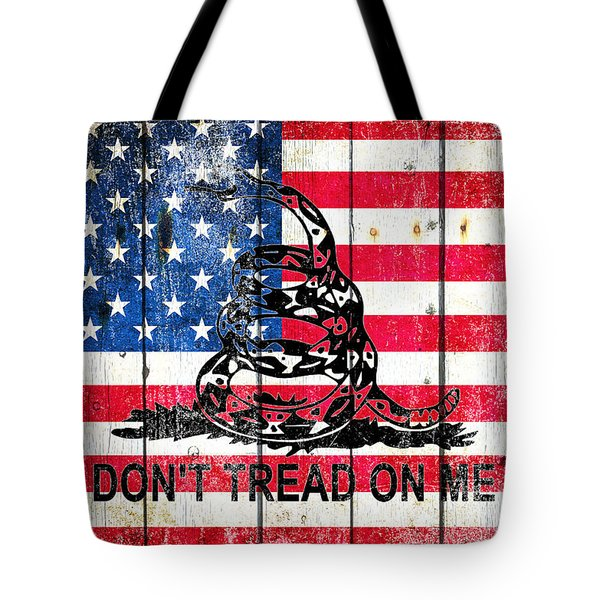 Viper On American Flag On Old Wood Planks Tote Bag