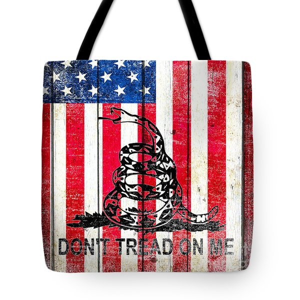 Viper On American Flag On Old Wood Planks Vertical Tote Bag