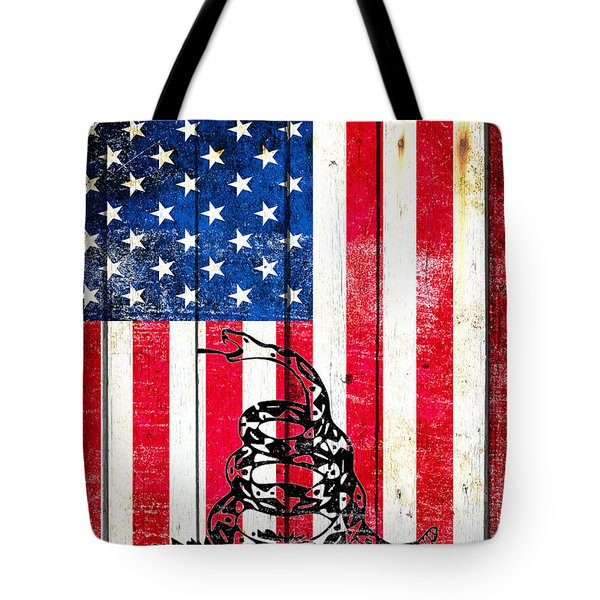 Viper On American Flag On Old Wood Planks Vertical Tote Bag by M L C
