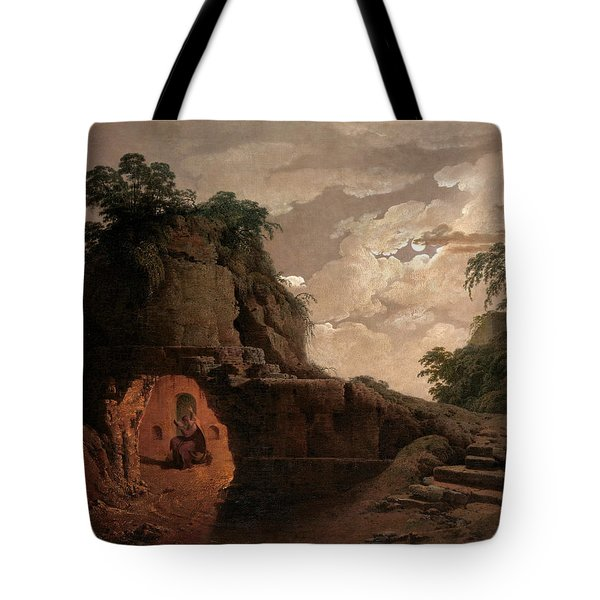 Tote Bag featuring the painting Virgil's Tomb By Moonlight With Silius Italicus Declaiming by Joseph Wright of Derby