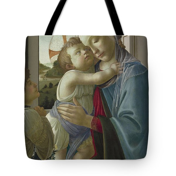Virgin And Child With An Angel Tote Bag