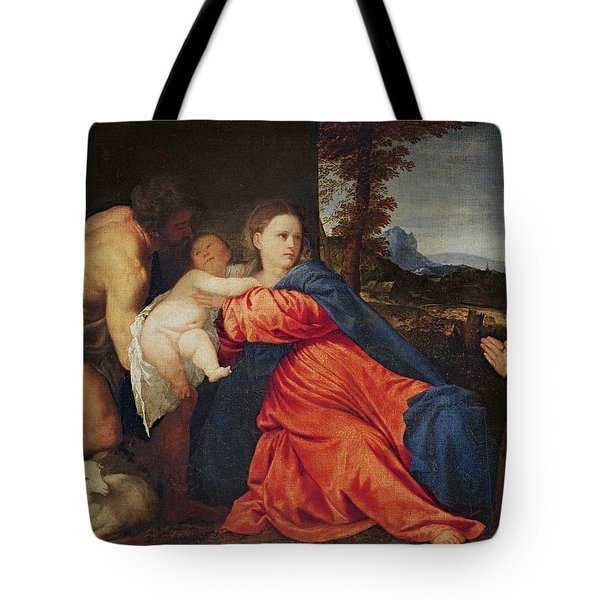 virgin and infant with saint john the baptist and donor painting by titian. Black Bedroom Furniture Sets. Home Design Ideas