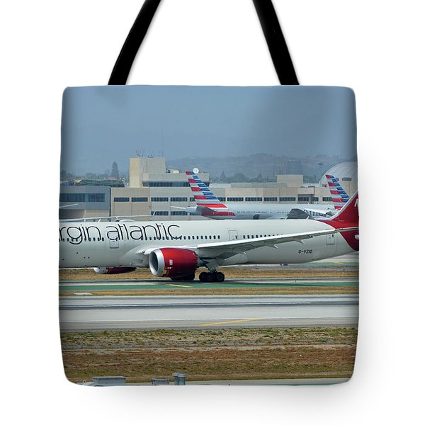 Tote Bag featuring the photograph Virgin Atlantic Boeing 787-9 G-vzig Los Angeles International Airport May 3 2016 by Brian Lockett