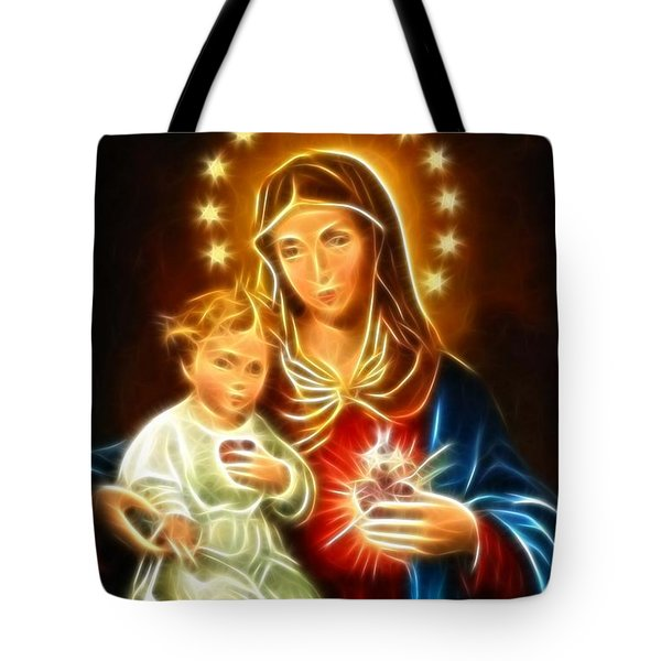 Virgin Mary And Baby Jesus Sacred Heart Tote Bag by Pamela Johnson