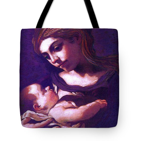 Tote Bag featuring the painting Virgin Mary And Baby Jesus, The Greatest Gift by Jane Small