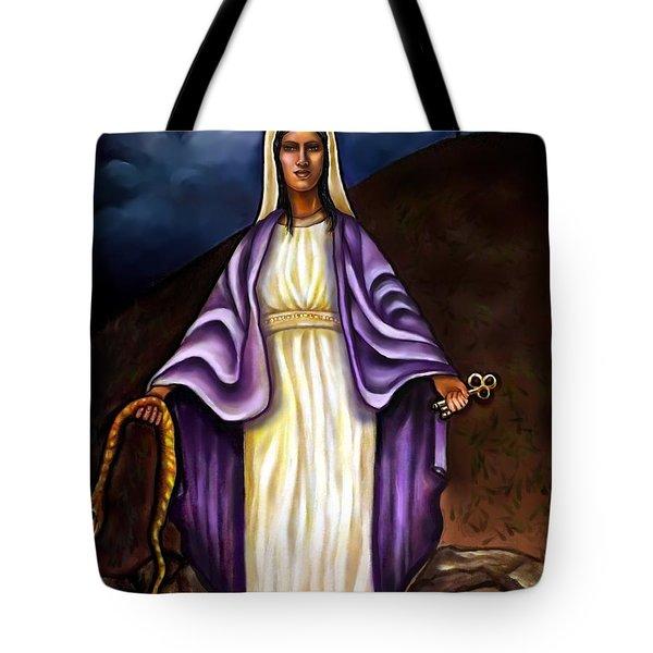 Virgin Mary- The Protector Tote Bag by Carmen Cordova
