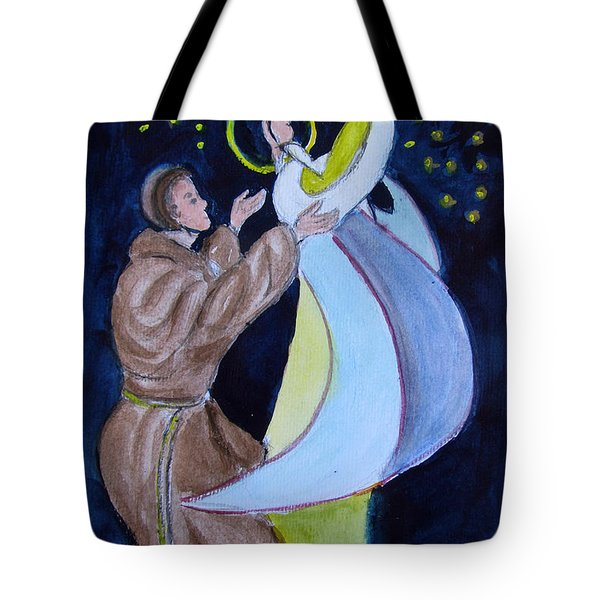 Virgin Mary With Jesus And St Anthony Tote Bag