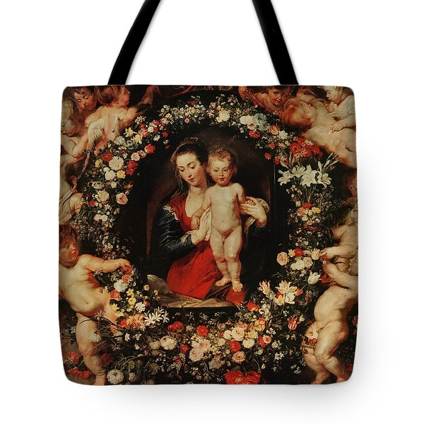 Virgin With A Garland Of Flowers Tote Bag by Peter Paul Rubens