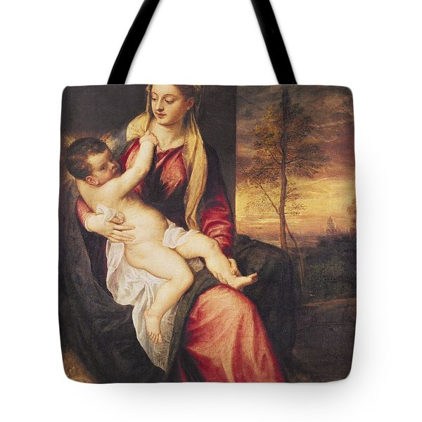 Virgin With Child At Sunset Tote Bag by Titian