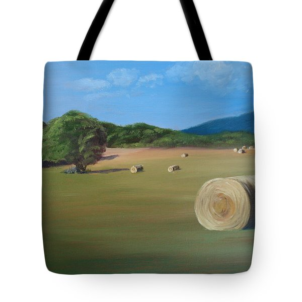 Tote Bag featuring the painting Virginia Hay Bales by Donna Tuten