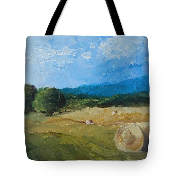 Tote Bag featuring the painting Virginia Hay Bales II by Donna Tuten