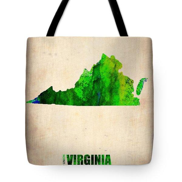Virginia Watercolor Map Tote Bag