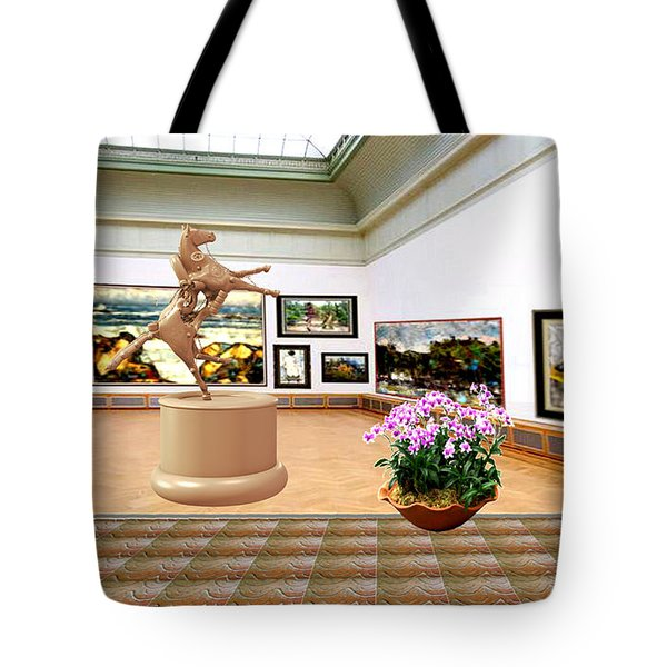 Virtual Exhibition - A Modern Horse Statue Tote Bag by Pemaro