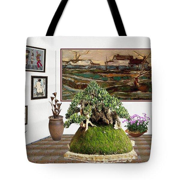 Virtual Exhibition -  Bonsai Palm 17 Tote Bag by Pemaro