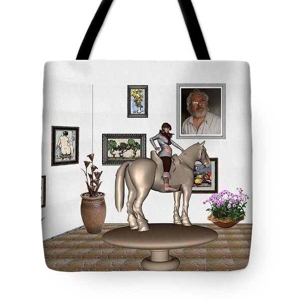 Virtual Exhibition Horsewoman 13 Tote Bag by Pemaro