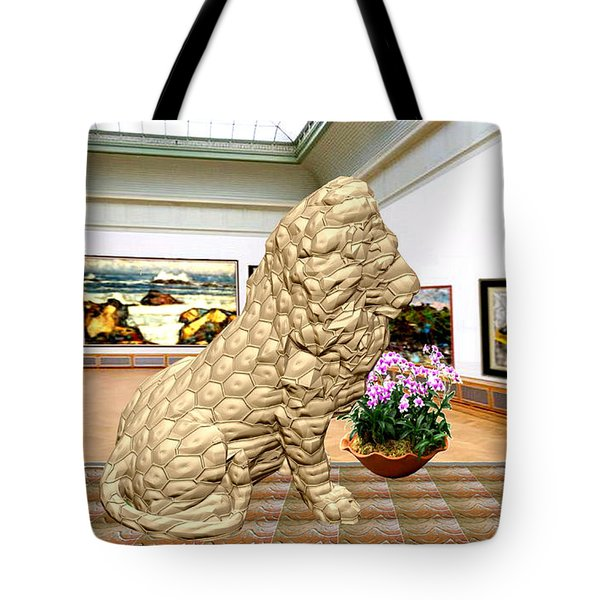 Virtual Exhibition - Statue Of A Lion Tote Bag