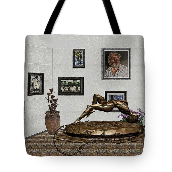 Tote Bag featuring the mixed media Virtual Exhibition -statue Of Girl by Pemaro