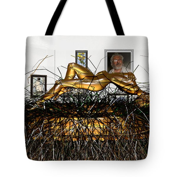 Tote Bag featuring the mixed media Virtual Exhibition With Birthday Cake by Pemaro