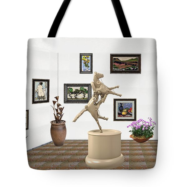 Virtual Exhibition_statue Of A Horse Tote Bag by Pemaro