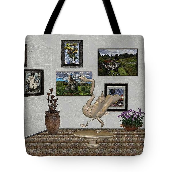 Tote Bag featuring the mixed media virtual exhibition_Statue of swan 23 by Pemaro