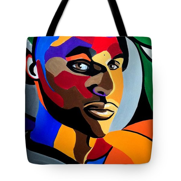 Visionaire, Abstract Male Face Portrait Painting - Illusion Abstract Artwork - Chromatic Tote Bag