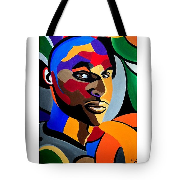 Visionaire Male Abstract Portrait Painting Chromatic Abstract Artwork Tote Bag