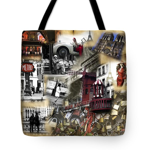 Visions Of Paris Tote Bag by John Rizzuto