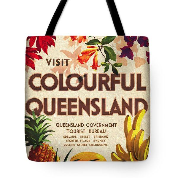 Visit Colorful Queensland - Vintage Poster Vintagelized Tote Bag