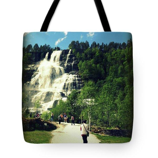 Visit To Tvindefossen Falls Tote Bag