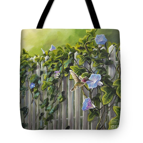 Visiting The Morning Glories Tote Bag by Joe Mandrick