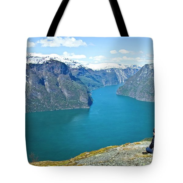 Visitor At Aurlandsfjord Tote Bag