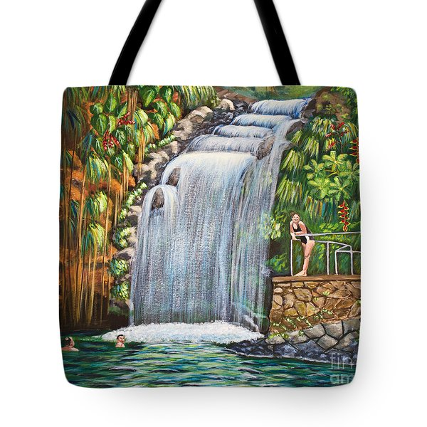 Visitors To The Falls Tote Bag