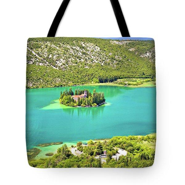 Visovac Lake Island Monastery Aerial View Tote Bag