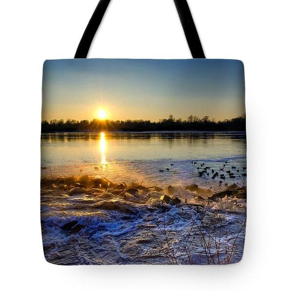 Vistula River Sunset 3 Tote Bag