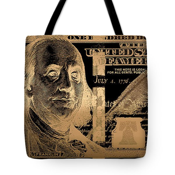 One Hundred Us Dollar Bill - $100 Usd In Gold On Black Tote Bag
