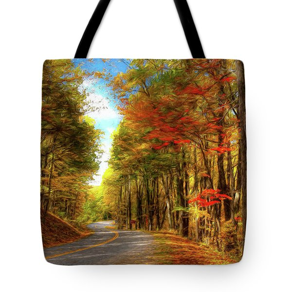 Tote Bag featuring the painting Vivid Autumn In The Blue Ridge Mountains Ap by Dan Carmichael