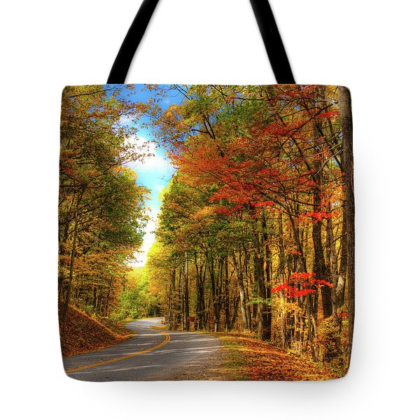 Tote Bag featuring the photograph Vivid Autumn In The Blue Ridge Mountains by Dan Carmichael