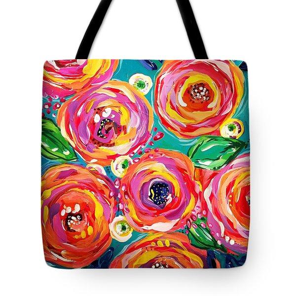 Vivid Flora Tote Bag by DAKRI Sinclair