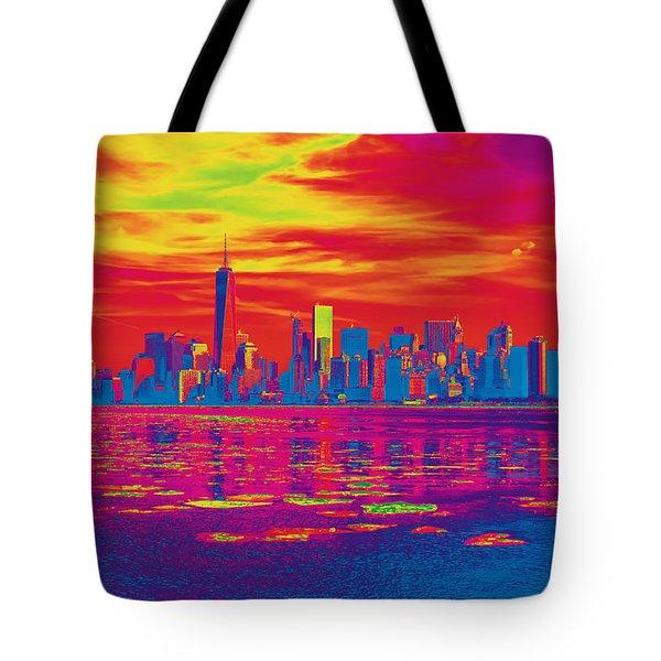 Vivid Skyline Of New York City, United States Tote Bag