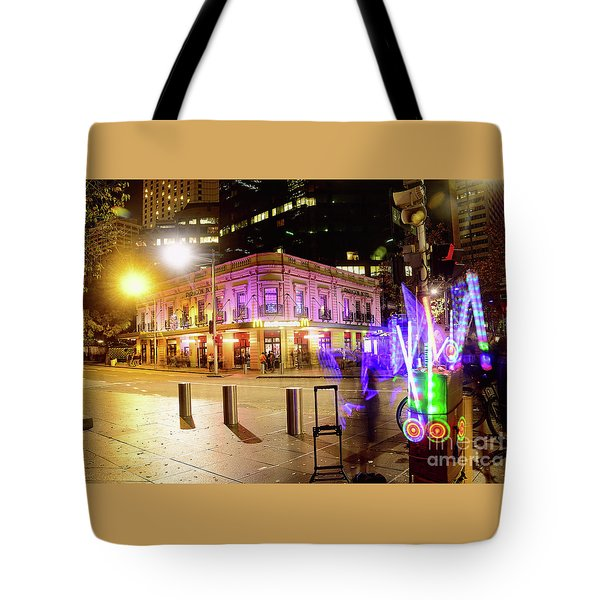 Tote Bag featuring the photograph Vivid Sydney Circular Quay By Kaye Menner by Kaye Menner