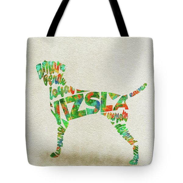 Tote Bag featuring the painting Vizsla Watercolor Painting / Typographic Art by Inspirowl Design