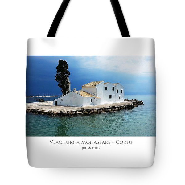 Tote Bag featuring the digital art Vlachurna Monastary - Corfu by Julian Perry
