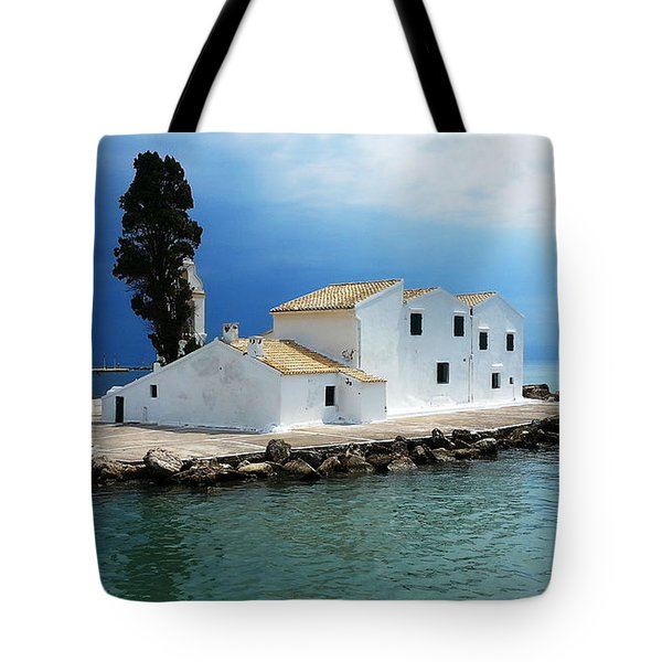 Tote Bag featuring the digital art Vlachurna Monastry by Julian Perry