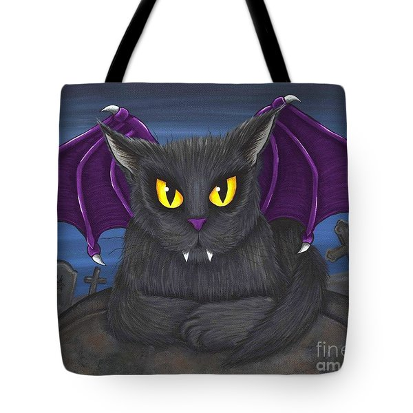 Tote Bag featuring the painting Vlad Vampire Cat by Carrie Hawks