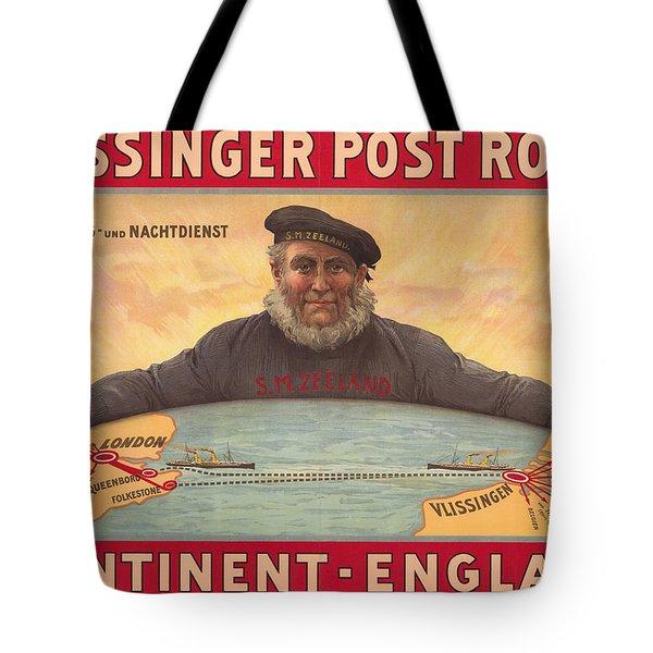 Vlissinger Post Route - Zeeland Maritime Company Poster - London To Flushing Ship Route Tote Bag