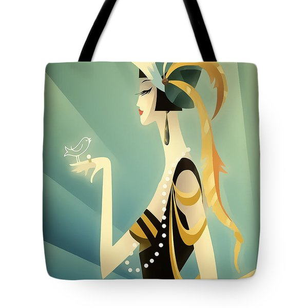 Tote Bag featuring the digital art Vogue - Bird On Hand by Chuck Staley