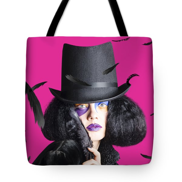 Vogue Woman In Black Costume Tote Bag